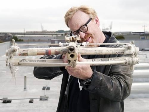 Adam Savage with a cross bow