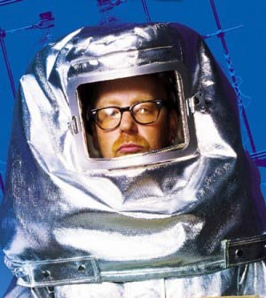 Adam Savage in a hazmat suit
