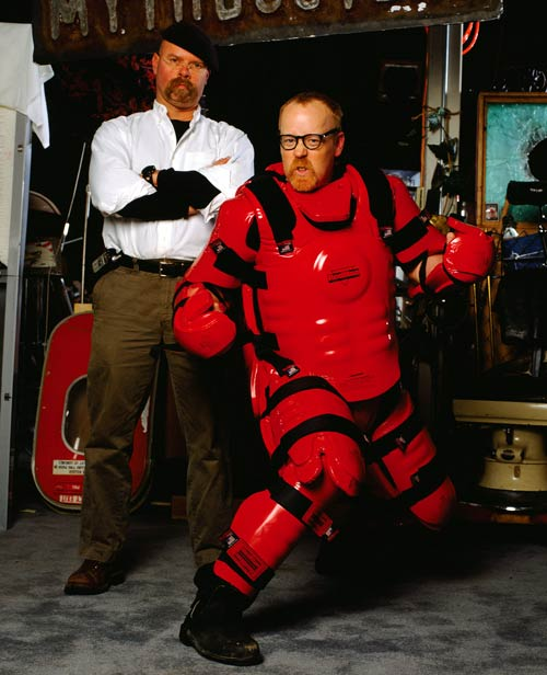 Adam Savage in a padded suit