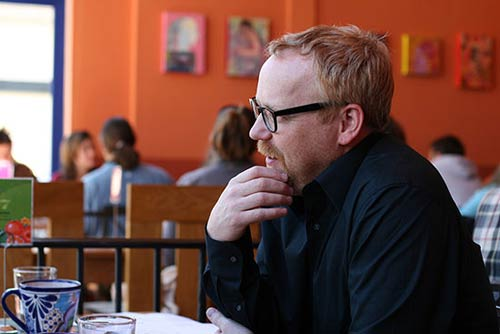 Adam Savage in a coffee shop