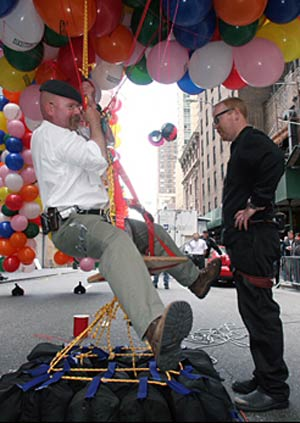 Jamie Hyneman on balloon chair