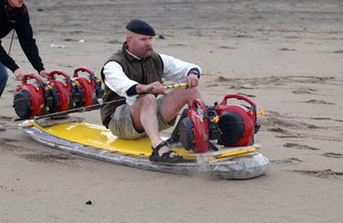 Jamie Hyneman riding hoverboard