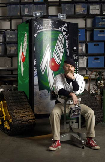 Jamie Hyneman with vending machine robot