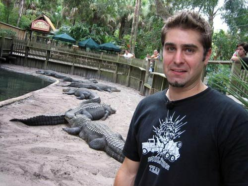Tory Belleci with aligators