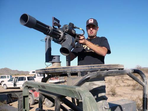 Tory Belleci firing machine gun