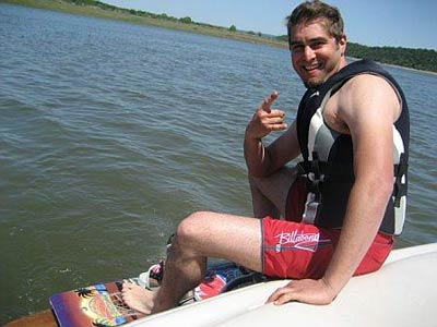 Tory Belleci water skiing